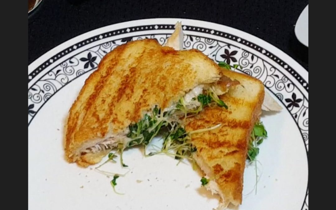 Roasted Turkey and Microgreens Grilled Cheese w/ Roasted Garlic and Onion Jam