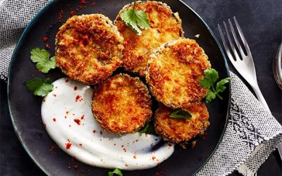Crispy Eggplant with Minty Yogurt