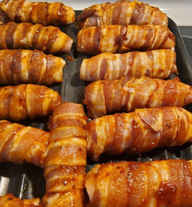 Bacon & Chicken Wrapped Mozzarella Sticks with Bloody Mary Jam Glaze